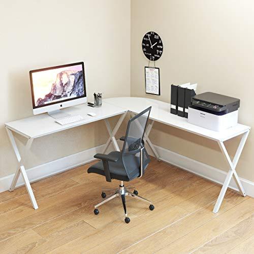Ryan Rove Keeling X Großer moderner L-förmiger Schreibtisch aus Glas für kleine PC Laptop Arbeitstisch Arbeitstisch Home Office mit Tastaturablage White Frame and White Glass (White X-frame Schreibtisch)