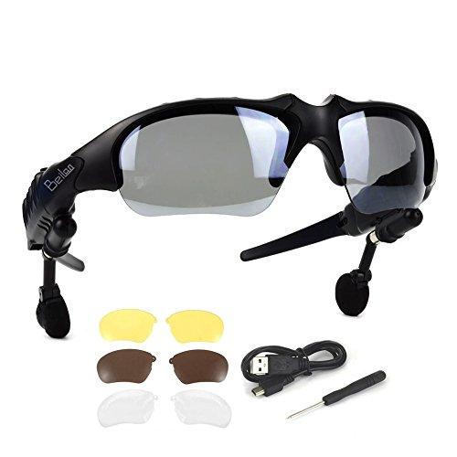 Bluetooth 4.1 Sonnenbrille mit Eingebautem Kabellosem Kopfhörer - BeiLan Stereo Ohrhörer mit 4 paar Objektiven Hände Frei Musik MP3 Player Telefon Anruf für alle Android iOS Smartphone oder PC-Tablet