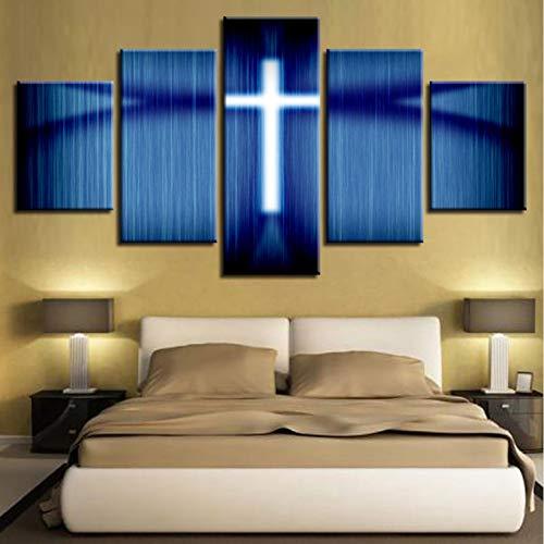 sshssh Sin Marco Pinturas En Lienzo Arte De La Pared HD Imprime Imágenes 5 Unidades Religiosas Jesús Cruz Carteles para La Sala De Estar Modular Home Decor
