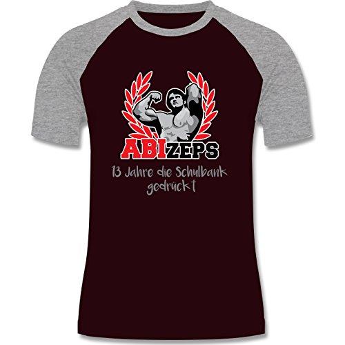 Abi & Abschluss - ABIzeps - 13 Jahre die Schulbank gedrückt - zweifarbiges Baseballshirt für Männer Burgundrot/Grau meliert