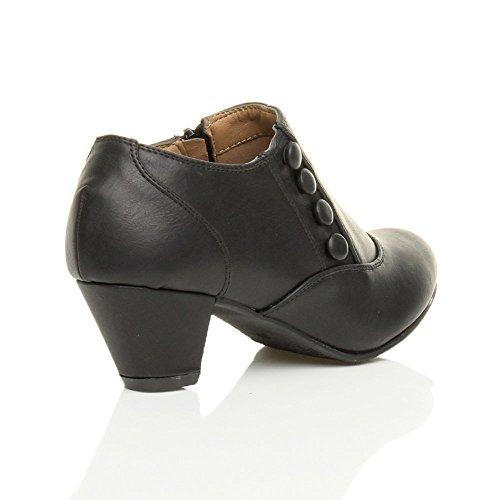 Donna tacco medio bottone cerniera elegante scarpa caviglia stivaletti numero Nero opaco