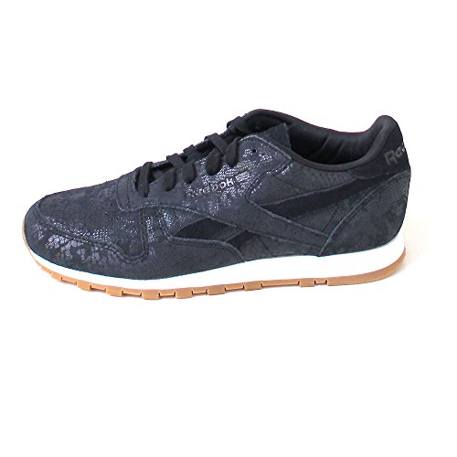 Reebok Cl Lthr Clean Exotics, Scarpe da Corsa Donna Multicolore (Black/Chalk/Gum)