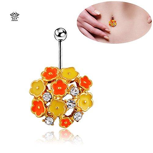 Brolux(tm) top vendita colorati di marca d'argento fiori body piercing di lusso placcato donna ombelico anelli violetta arancione percings navel