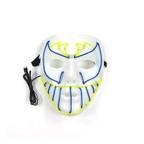 SHIYAREN Halloween-Maske LED-MaskeNachtclub Fluoreszierende kaltes Licht Glühen Maske Fledermaus Gesicht Grinsen Halloween Horror Make-up Show Maske - Make-up Gesicht Zu Glühen