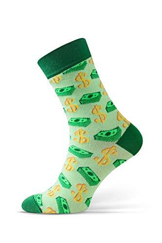 Sesto Senso Lustige Socken Baumwolle 1 oder 3 Paar Socken Wadensocken für Damen und Herren Unisex Seltsame Ungerade Fun Socken (39-42, Dollar - Giftgrün)
