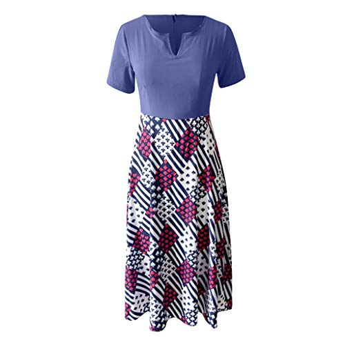Wawer Damenkleid Sexy Spleißen mit V-Ausschnitt Kurzärmeliges Kleid in Kontrastfarbe mit hoher Taille, weich und bequem zu drapieren
