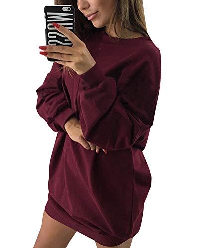 Minetom Damen Langarm Sweatshirt Herbst Winter Lange Pullover Einfarbig Pulli Sexy Oversize Tunika Mini Kleid Casual Lose Rundhals Tops Weinrot DE 36