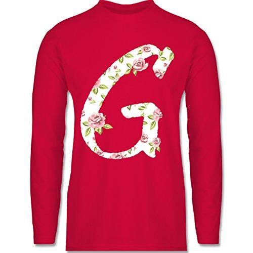 Anfangsbuchstaben - G Rosen - Longsleeve / langärmeliges T-Shirt für Herren Rot