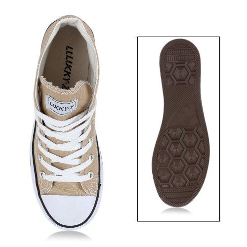 Damen Herren Unisex Sneaker High Schnürer Denim Sneakers Camouflage Sportschuhe Turnschuhe Glitzer Stoff Schuhe Übergrößen Flandell Khaki