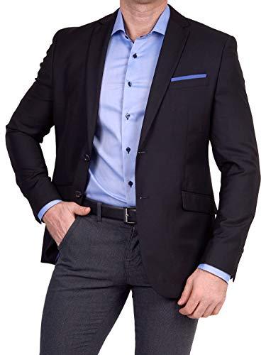 Unbekannt Herren Sakko klassisch Reverskragen Blazer Zweiknopf Jackett Anzug Slim Fit bequem, Größe 42, schwarz
