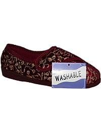 Diabético ortopédico Ladies Wide Fit totalmente lavable Touch cerca Bar correa zapatos zapatillas