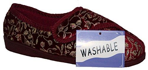Diabéthique orthopédique femmes coupe large entièrement lavable fermeture scratch lanière chaussure chausson Bordeaux