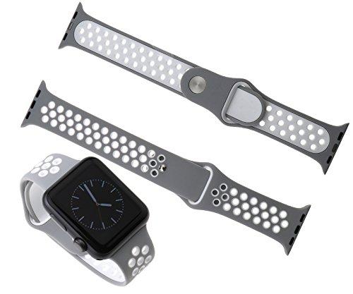 Preisvergleich Produktbild Silikon Ersatz Sport Band Armband für Apple Watch iWatch Nike 42mm Silber+Weiß