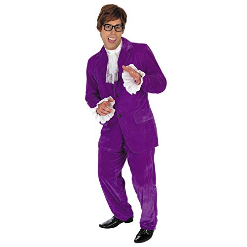 Fun Shack Herren Costume Kostüm, 60s Movie Purple Suit, (Mr Evil Kostüm)