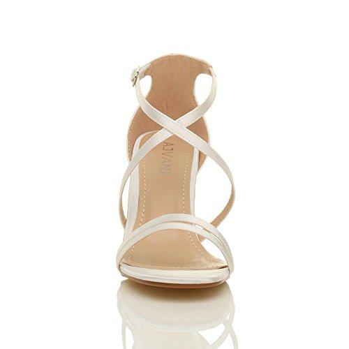 Femmes talon moyen haut lanières croisé mariage bal sandales chaussures taille Satin blanc