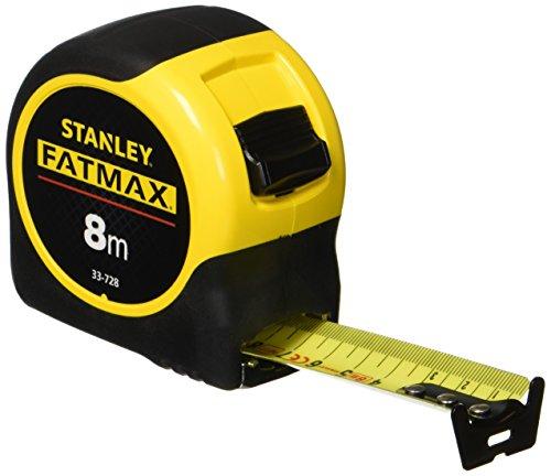 Stanley FatMax Bandmass Blade Armor (8 m Länge, Feststeller, automatischer Rücklauf, Gürtelclip, DynaGrip) 0-33-728 -