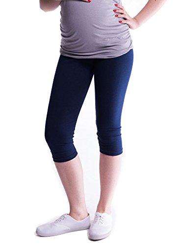 Baumwoll-gewebe-panel (Mija - Oasi - Gute Qualität Umstandsleggings für Schwangere Capri 3/4 Leggings / Hose 3082 (XL, Marine))