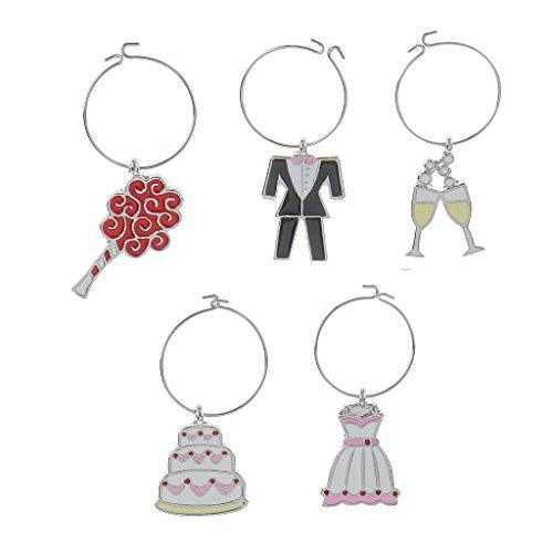 MagiDeal Pack of 5pcs Hochzeit Thema Glasmarker Ring Weinglasmarkierer Charm Anhänger Hochzeit Geburtstag Dekoration