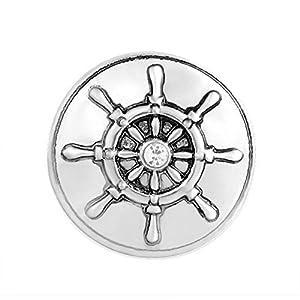 ANDANTE Chunk Click-Button Druckknopf ** Ruder Schiff Steuerrad mit Kristall ** für Chunk-Armbänder, Chunk-Ringe, Chunk-Schlüsselanhänger und andere Chunk-Accessoires + Organzasäckchen
