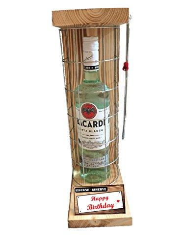 Happy Birthday Die Eiserne Reserve mit Bacardi Rum 0,70L incl. Bügelsäge zum zersägen des Metallgitters - Das ausgefallenes witziges originelles lustiges Geschenk Geschenkset 3