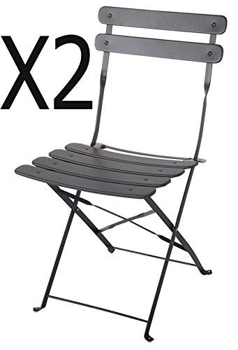 PEGANE Chaise de Jardin en Acier époxy Coloris Gris foncé - Dim : 42 X 46 X 80 cm