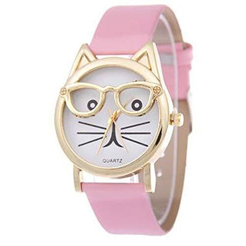 Premium Qualität süße Brille Katze Frauen analoge Quarz Zifferblatt Armbanduhr Carry stone