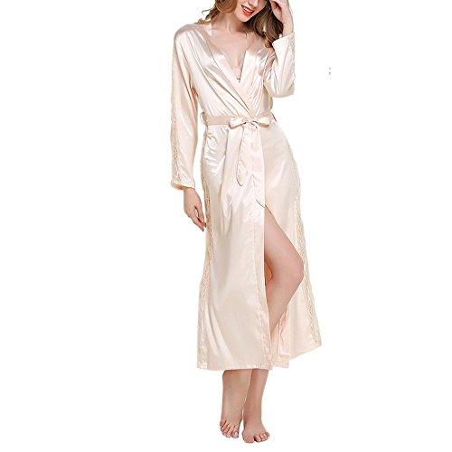 Damen Bademantel, Canvalite Sexy Damen Einfarbig Kimono Negligee Morgenmantel mit Gürtel, glatte Satin, spitzer Ärmel, tiefer V-Ausschnitt, lang (Herren Leinen-look Creme)
