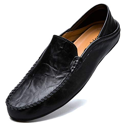 KAMIXIN Mocassini Uomo Pelle Estivi Pantofole Casual Eleganti Slip On Scarpe da Guida Scarpe da Barca Classic Loafers Nero 46EU