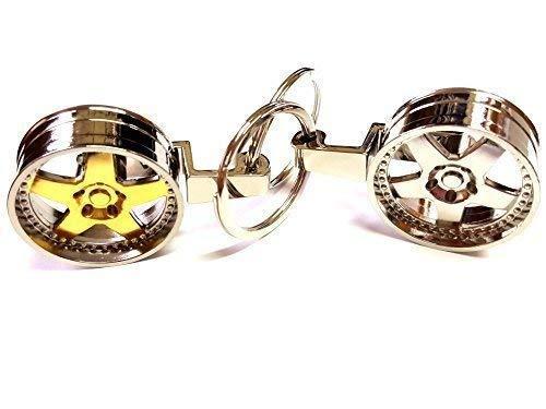 1x Alufelge Tiefbettfelge Schlüsselanhänger aus Metall Gold / verchromt Schlüssel KFZ Felge Anhänger ca 8,5 Lang & 3,5 Breit (verchromt)