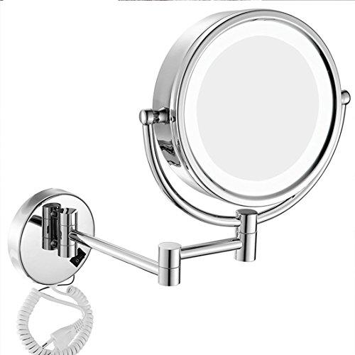 Ysayc LED Bilden Spiegel An der Wand montiert Beidseitig Beleuchtet Vergrößern Schönheit 360 ° frei rotierend Schminkspiegel, Silver, 7x (Dune Spiegel)