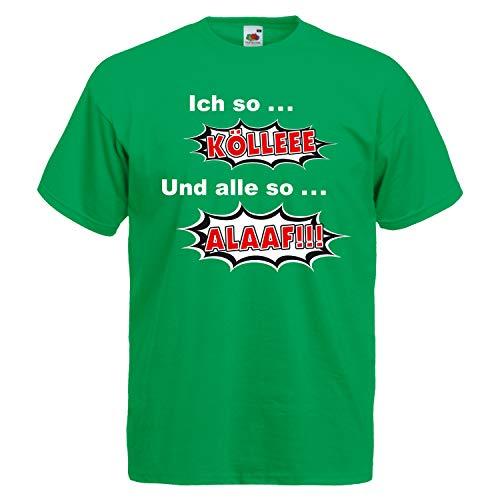 Shirt-Panda Herren Karneval T-Shirt Köln Kölle Alaaf Jeck Fasching Unisex Fun Party Rosenmontag Grün ()