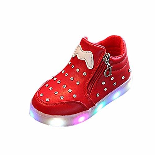 TPulling Mode Sommer Und Frühling﹛1T-6T﹜Kinder Mode Mädchen Jungen﹛Leuchtend LED Rutschfeste﹜Sport Lichter Blinkende Weichen Boden Tanzschuhe Schuhe Turnschuhe Lässige Schuhe (Rot, 30=EU:29) (Sandalen Mädchen Neue)
