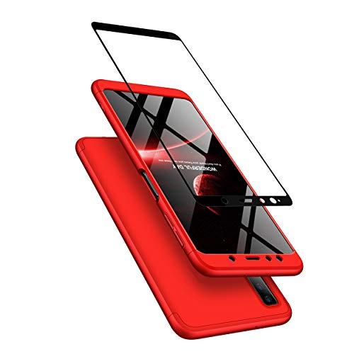 JOYTAG Kompatibel Samsung A7 2018 (A750) Hülle,Handyhülle+Hartglas Glasfilm Schutzfolie 360 Grad Ultra dünn Alles inklusive Schutz 3 in 1 PC Telefon Cover case-Rote