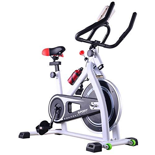 WBaRJ Indoor Cycling Bicycles Heimtrainer für Indoor-Sportgeräte, extrem leise, Spinning Bike,White