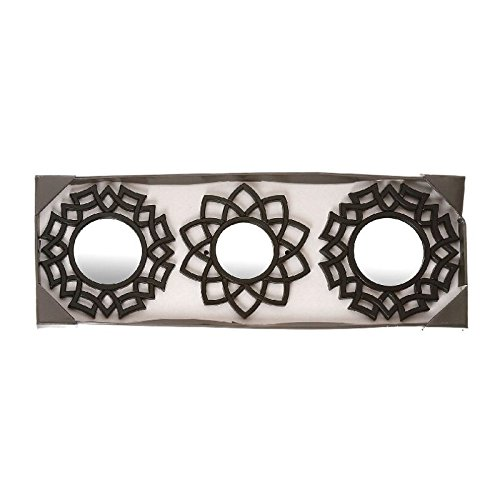 dcasa - Juego de 3 espejos pared negro Medida: 25X2X25 CM