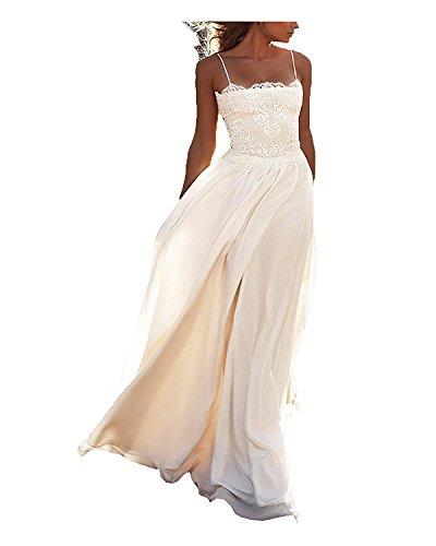 Cloverbridal Spaghetti-Träger Boho Chiffon Spitze Strand Hochzeitskleid Brautkleid lang