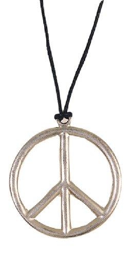 Karneval Zubehör Halskette Peace Zeichen zum Hippie Kostüm Fasching (Erwachsene Hippie Halskette Peace Zeichen)
