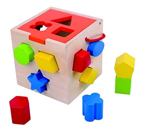 Tooky Toys Steckbox, Formen sortieren TKA414-B, 14x 14x 14cm