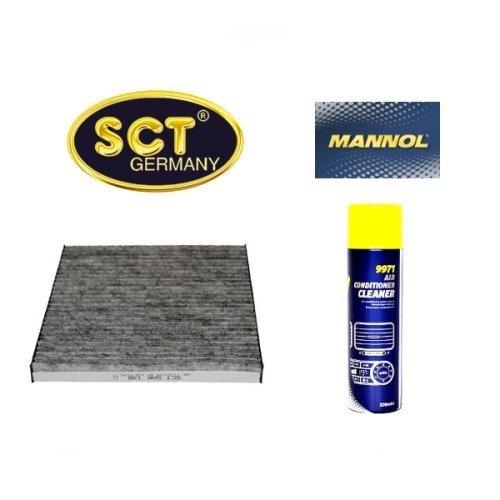 Klimaanlage Aktivkohle (SCT Innenraumfilter Aktivkohle Pollenfilter Microfilter Kabinenfilter (Toyota) (Avensis) T25 + 520 ml Air conditioner Cleaner Klimaanlagen Reiniger und Desinfektion)