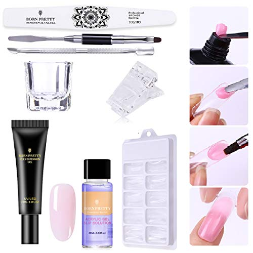 BORN PRETTY Pink Nude Nail Quick Building Poly Quick Gel Set 20ml Jelly Builder Finger Extension UV Gel Lacquer 8 Pcs/Set -
