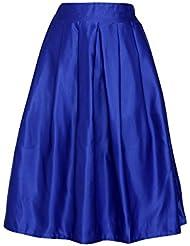 Moollyfox Color Solido De La Moda Retro Mujeres Llenas Plisadas Faldas Midi Ol