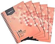 Amazon Basics - Quaderno con rilegatura a spirale, 160 pagine, formato A5, 70 g/m², (confezione da 5)