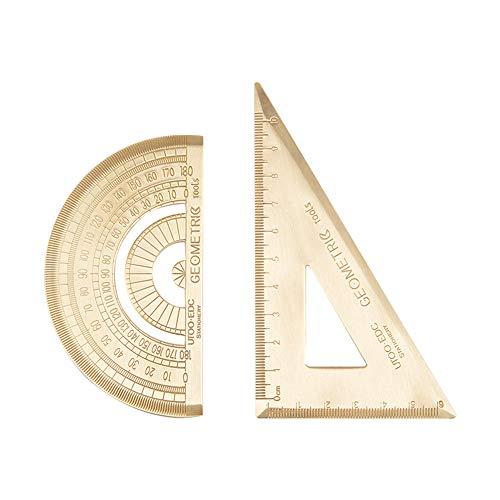 Ruiting Messing Graphometer und Geodreieck 2Pcs Math Lineal Home School Student Schreibwaren Weinlese Graphometer
