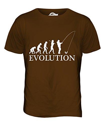 CandyMix Angeln Fischfang Evolution Des Menschen Herren T Shirt Braun