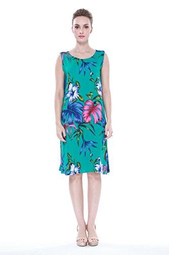 Mujer-hawaiano-Arruga-Una-lnea-Flowy-Luau-Vestido-en-Verde-bastante-floral-del-trullo
