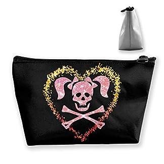 Skull Crossbones Pigtails Heart Portable Travel Makeup Bags Pencil Case Handbag Organizers With Zipper