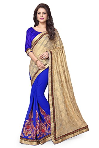 SOURBH Women's Net Jacquard,Faux Georgette Half Half Saree (2213_Beige,Royal Blue)  available at amazon for Rs.1095