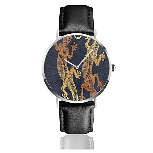 Gold Mandala, Künstlerische Gecko Eidechse Figuren Boho Rahmen Tropical Henna Tattoo Stil Schwarz Quarzwerk Edelstahl Lederband Uhren Casual Fashion Armbanduhren