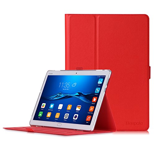 Huawei MediaPad M3 Lite 10 Hülle - Ultra Dünn PU Leder Hülle Schutz mit Magnetische Auto Wecken/Schlaf Funktion für Huawei Media Pad M3 10.1 Zoll (Rot)