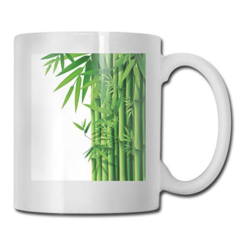 Jolly2T Funny Ceramic Novelty Coffee Mug 11oz,Modern Image of Fresh Bamboo Stems Leaves with Colors Exotic Nature Themed Print,Unisex Who Tea Mugs Coffee Cups,Suitable for Office and Home